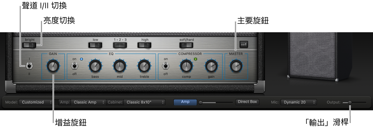 Bass Amp Designer 擴大器控制項目,包含「明亮」切換、「增益」旋鈕、「聲道 I 和 II」切換,以及「主聲道」旋鈕。