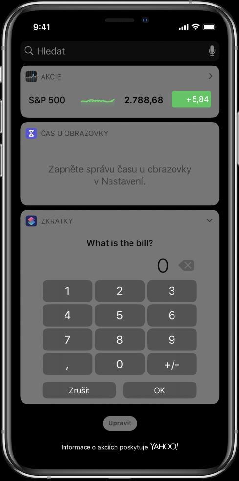 Číselná klávesnice ve widgetu Zkratky vzobrazení Dnes