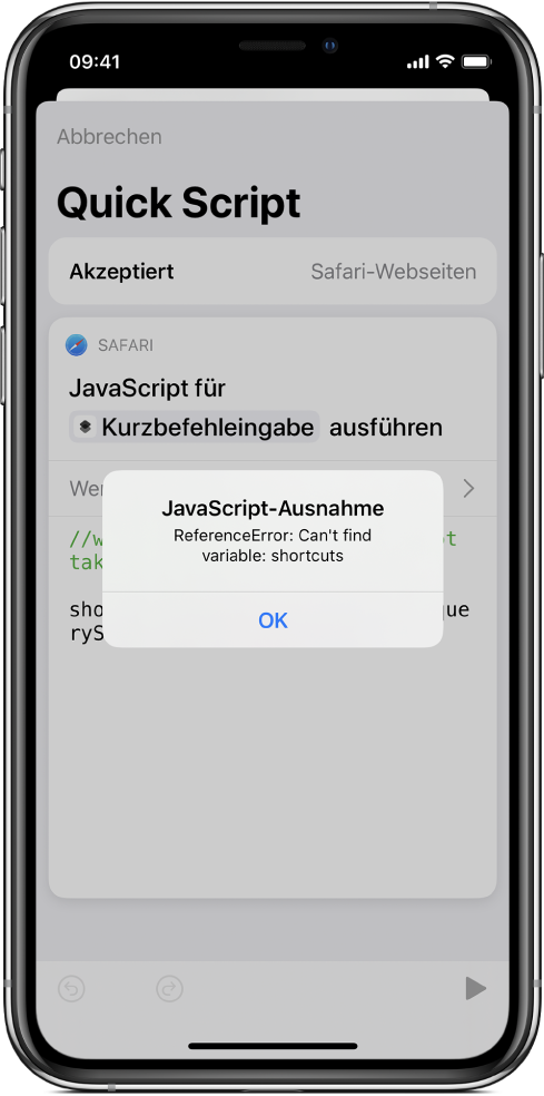"Kurzbefehleditor mit der Fehlermeldung ""JavaScript-Ausnahme"""