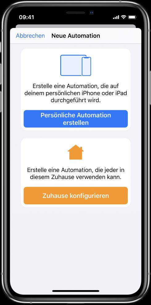 """Neue Automation, sofern in der App """"Kurzbefehle"""" bereits eine Automation vorhanden ist."""