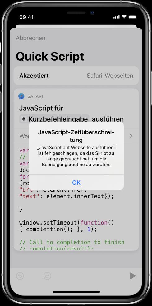 """Kurzbefehleditor mit der Fehlermeldung """"JavaScript-Zeitüberschreitung"""""""