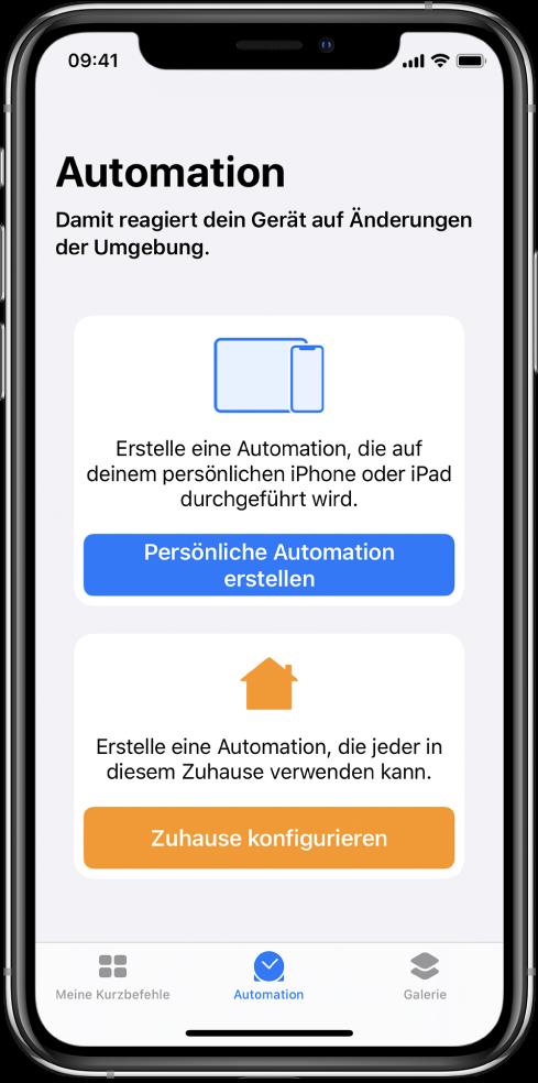 """Der Abschnitt """"Automation"""" in der App """"Kurzbefehle""""."""