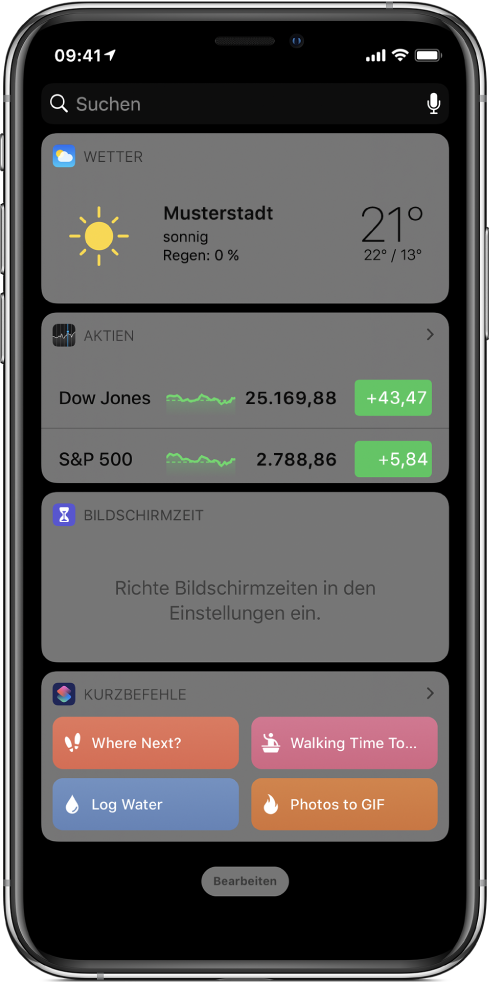 """Widget """"Kurzbefehl"""" in der Ansicht """"Heute"""" auf dem iPhone"""