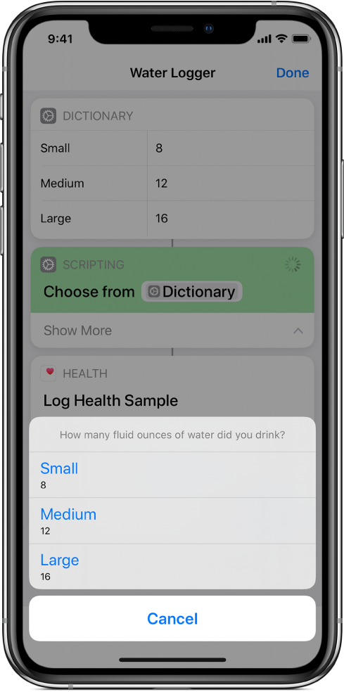 Choose from List action after a dictionary item in a running shortcut.