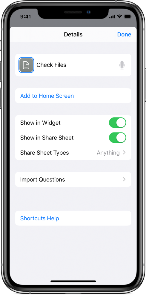 Shortcut editor with Show in Share Sheet turned on.