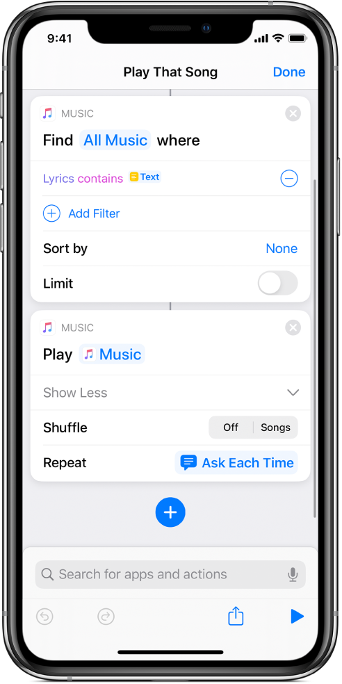 Ask Each Time variable replacing the Repeat parameters in the Play Music action in the shortcut editor.