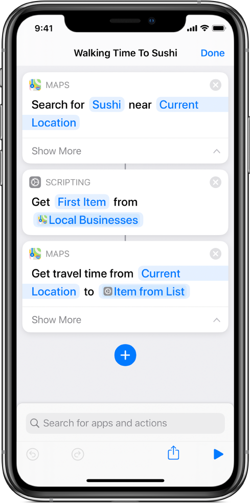 Shortcut editor showing a Get action.