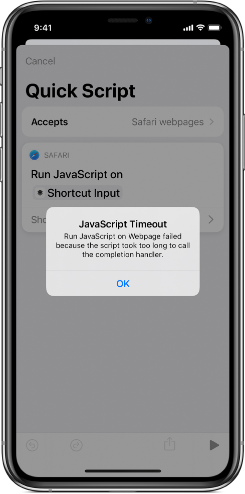 The shortcut editor showing a JavaScript Timeout error message.