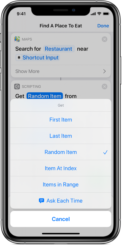 Get Item from List action.