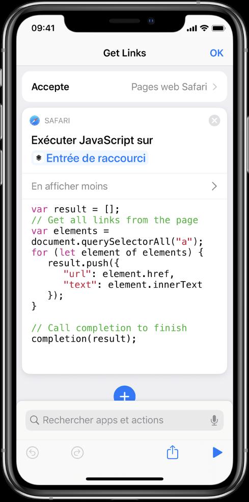L'action «Exécuter JavaScript sur une page web» dans l'éditeur de raccourci.