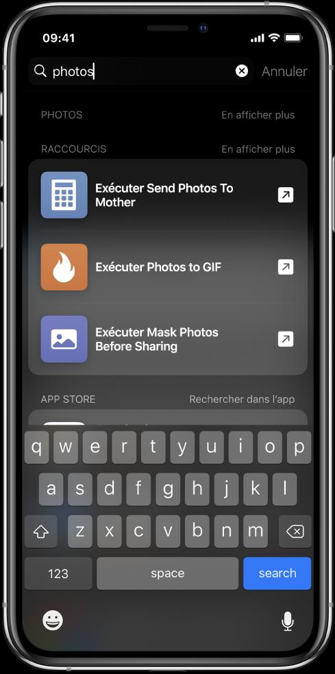 """La recherche pour le mot-clé de raccourci «photos» et les résultats de la recherche: """"Exécuter Envoyer des photos à maman"""", """"Exécuter Convertir des photos enGIF"""", et """"Exécuter Masquer des photos avant le partage""""."""