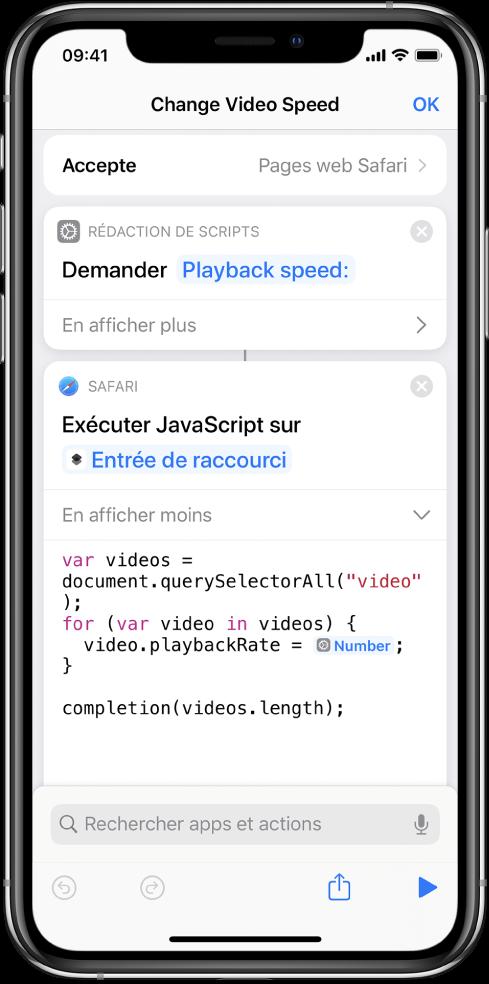 L'éditeur de raccourci affichant une action «Exécuter JavaScript sur une page web» contenant une variable magique.