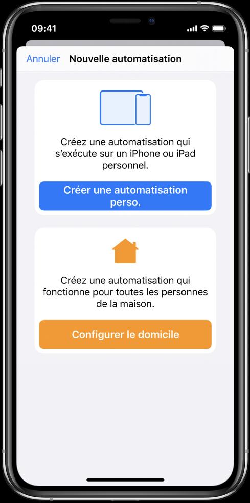 Nouvelle automatisation lorsqu'il en existe déjà une dans l'app Raccourcis.