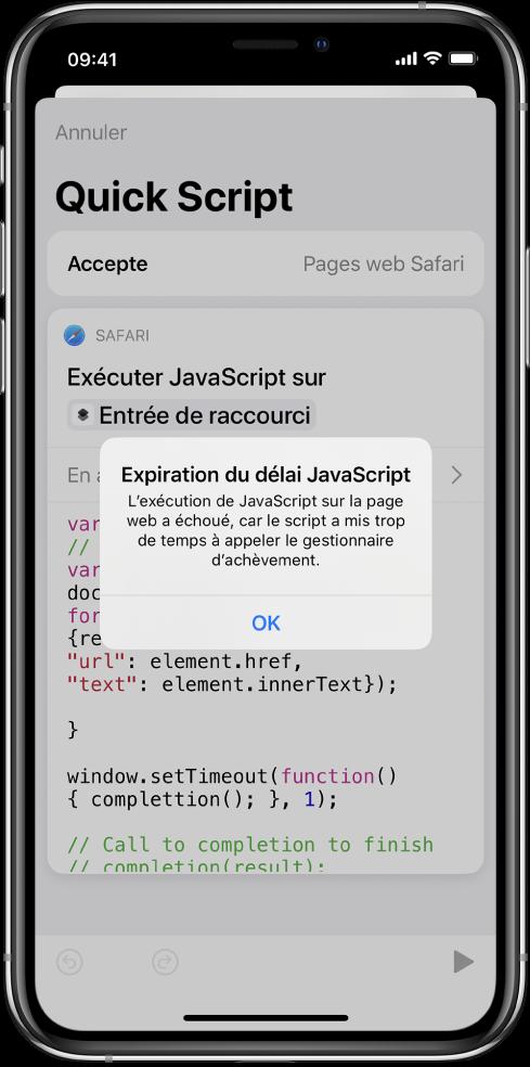 L'éditeur de raccourci affichant le message d'erreur Expiration du délai JavaScript.