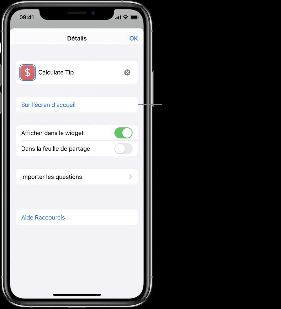 Écran Détails dans l'app Raccourcis montrant l'option Sur l'écran d'accueil.