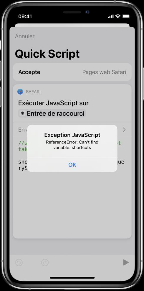 L'éditeur de raccourci affichant le message d'erreur Exception JavaScript.