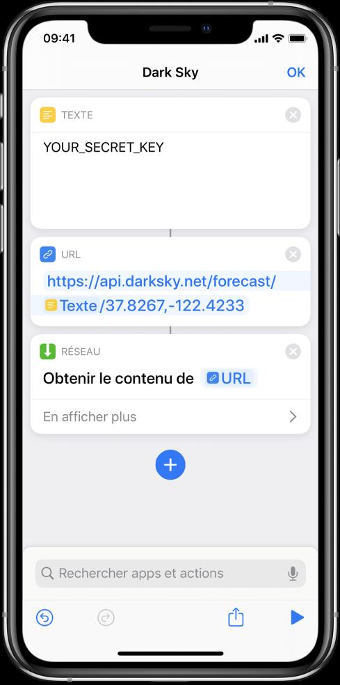 Une requête API Dark Sky qui contient une action Texte avec une clé API secrète, suivie d'une action URL pointant vers le point de terminaison de l'API, à l'aide d'une variable Clé secrète, suivie d'une action Obtenir le contenu de l'URL.