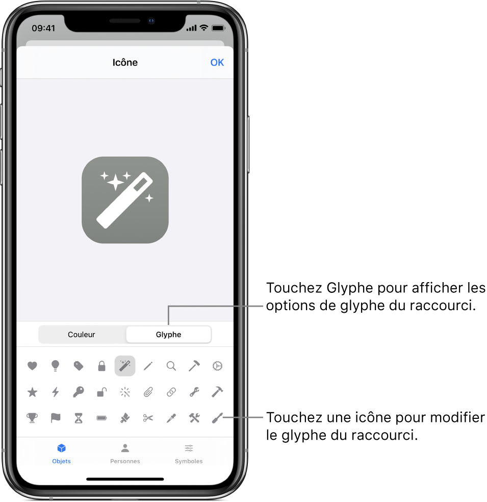 Écran Icône affichant les options de glyphe du raccourci.