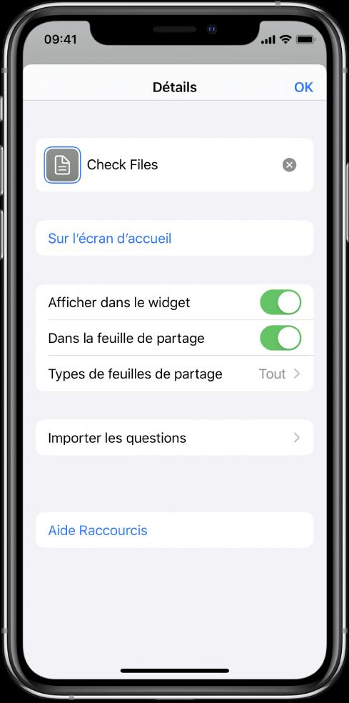 L'éditeur de raccourci avec l'option Afficher dans la feuille de partage activée.