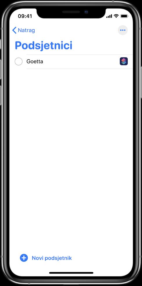 Aplikacija Podsjetnici s prikazom novog podsjetnika na prečac.