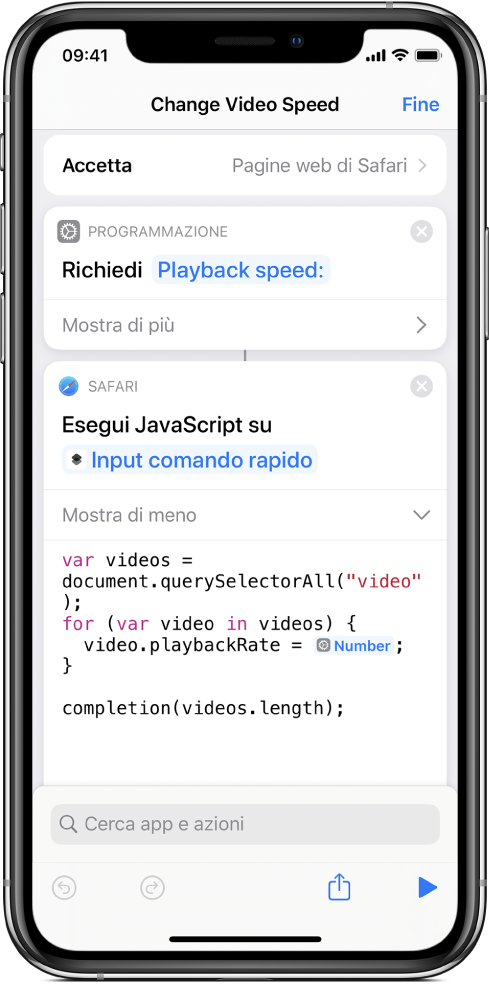 """Editor di comandi rapidi che mostra un'azione """"Esegui JavaScript sulla pagina web"""" contenente una variabile magica."""