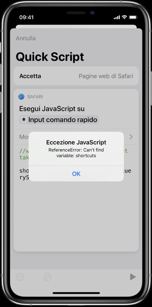 """Editor di comandi rapidi che mostra il messaggio di errore """"Eccezione JavaScript""""."""
