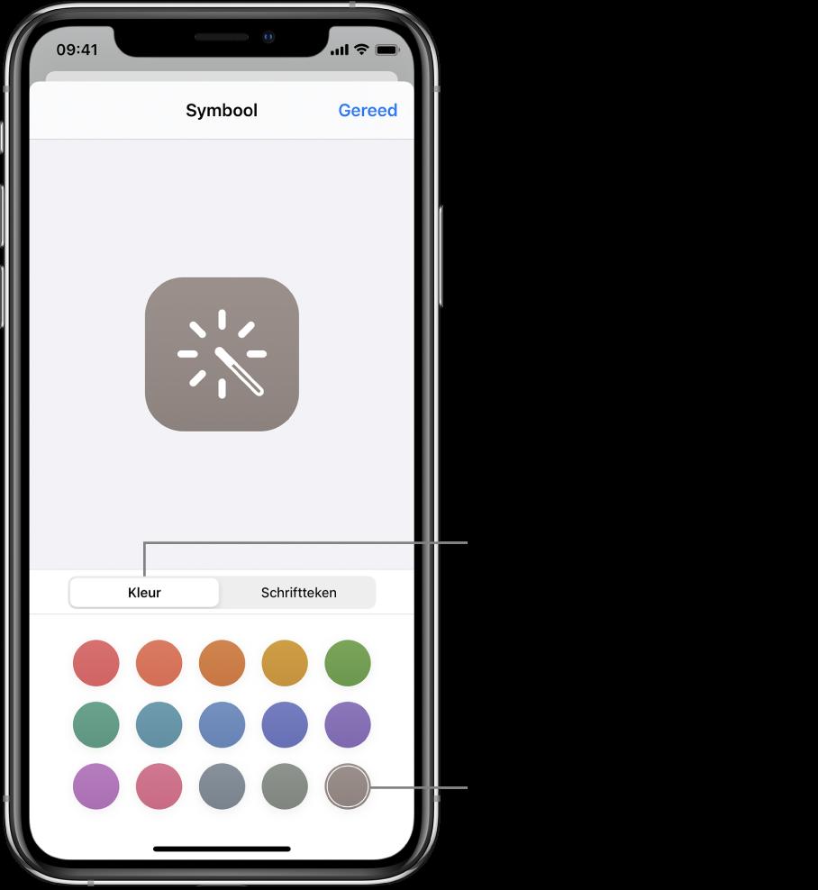 Symboolscherm met kleuren voor opdrachten.