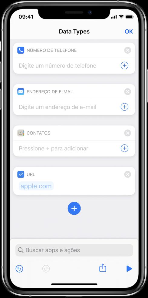 Editor de atalhos mostrando ações que armazenam conteúdo no atalho.
