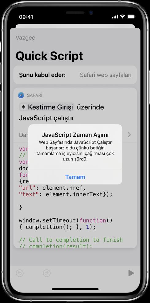 JavaScript Zaman Aşımı hata mesajının gösterildiği kestirme düzenleyicisi.