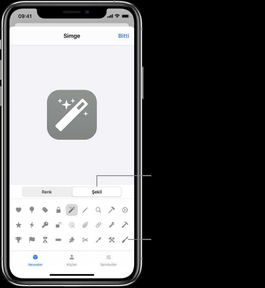 Kestirme için karakter şekli seçeneklerini gösteren Simge ekranı.