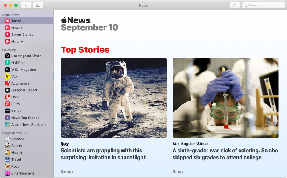 La fenêtre d'AppleNews qui affiche la barre latérale sur la gauche et «À la une» sur la droite.