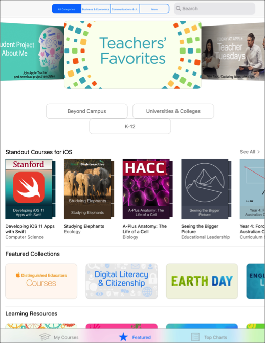 Featured courses in All Categories in the iTunesU app.