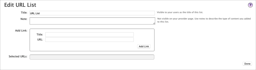 Edit URL List information for your provider page; including title, notes, and URL links you want to include in the box.