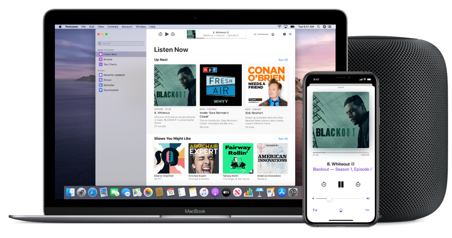The Apple Podcasts window showing the Listen Now screen on a Mac and iPhone, with a HomePod in the background.