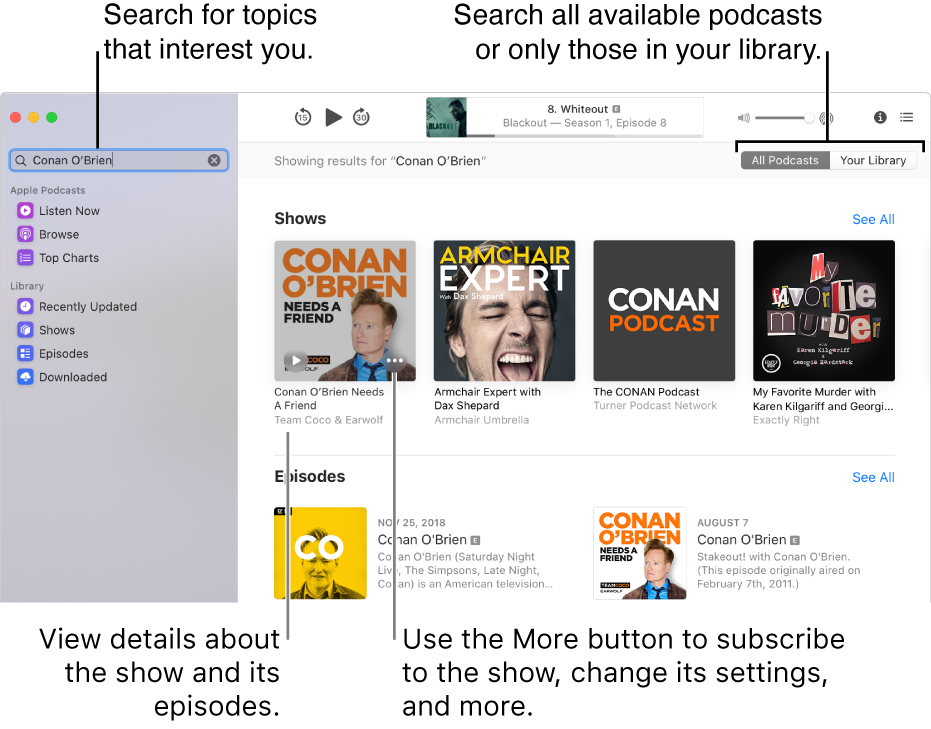 The Podcasts window showing text entered in the search field in the top-left corner, and episodes and shows matching the search of all podcasts in the screen to the right. Click the link under the show to view details about the show and its episodes. Use the show's More button to subscribe to the show, change its settings, and more.