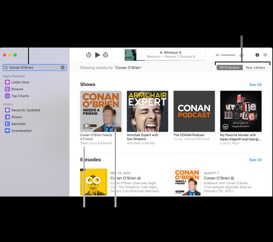 Fenêtre Podcasts affichant du texte dans le champ de recherche en haut à gauche, et des épisodes et podcasts correspondants à la recherche de tous les podcasts dans l'écran de droite. Cliquez sur le lien sous le podcast pour afficher des détails à propos du podcast et de ses épisodes. Utilisez le bouton Plus du podcast pour vous abonner au podcast, modifier ses réglages et plus encore.