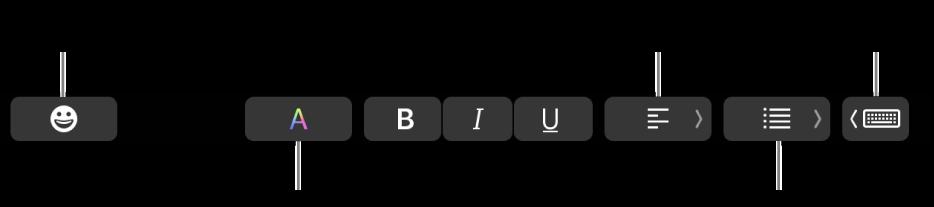 De TouchBar met (van links naar rechts) knoppen van de app Mail: emoji, kleuren, vet, cursief, onderstrepen, uitlijning, lijsten en suggesties tijdens typen.