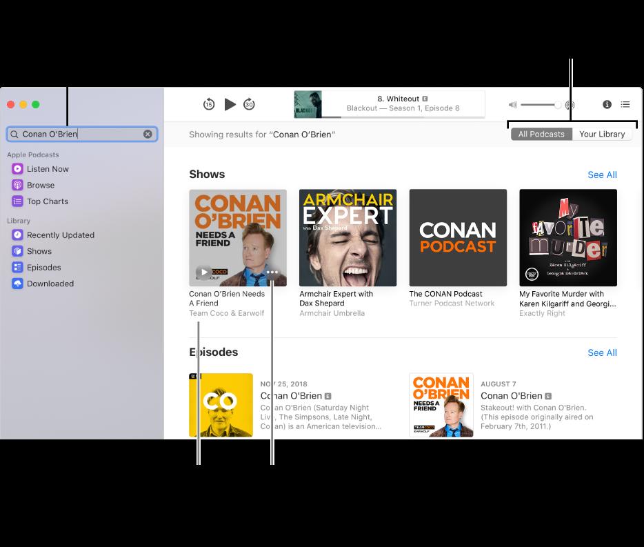 Het Podcasts-venster, met linksbovenin tekst in het zoekveld, en in het scherm aan de rechterkant afleveringen en programma's die aan de zoekcriteria voor podcasts voldoen. Klik op de link onder het programma voor details over het programma en voor de afleveringen. Met de knop 'Meer' kun je onder andere een abonnement nemen op het programma en de instellingen wijzigen.