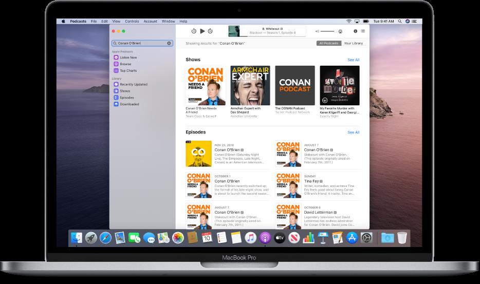 Het Podcasts-venster met een zoekopdracht en de resultaten.