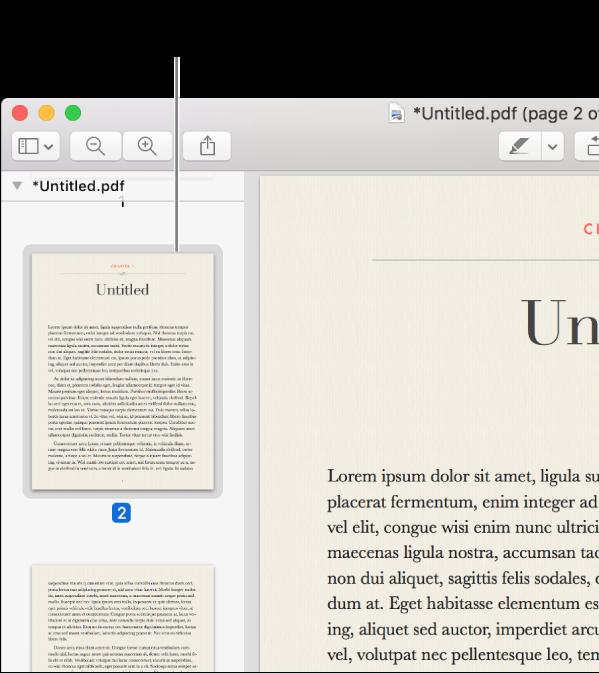 साइडबार में दिखाए गए थंबनेल के साथ PDF।