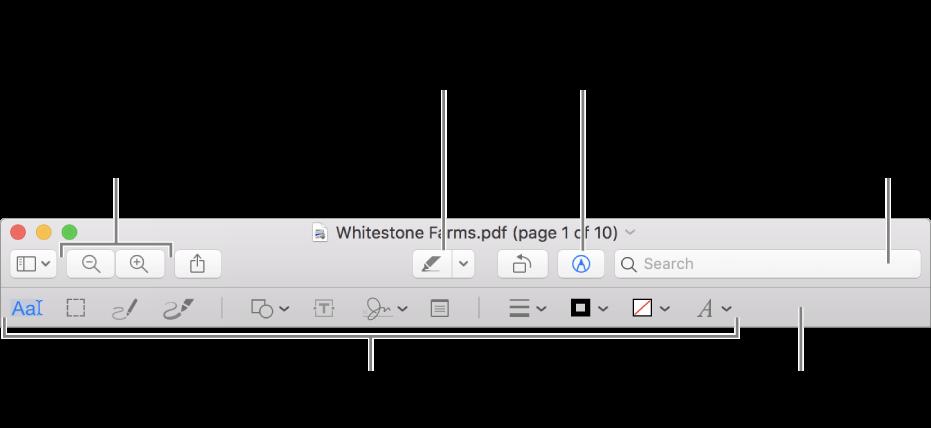 De markeringsknoppenbalk voor het annoteren van een pdf.