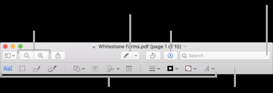 PDF'i işaretleme için İşaretleme araç çubuğu.