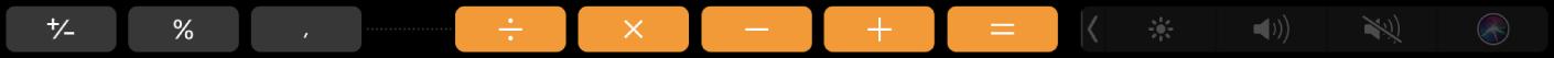 """Die Rechner-TouchBar im Bearbeitungsmodus mit der Taste """"Fertig"""" links."""