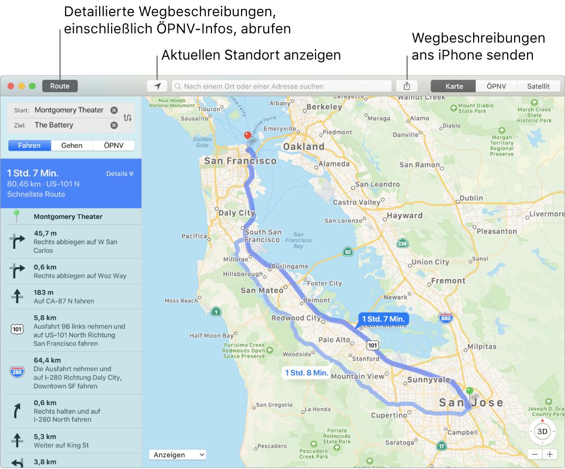 """Ein Karten-Fenster mit Informationen zum Anzeigen von Routen durch Klicken auf """"Route"""" oben links und zum Senden von Wegbeschreibungen ans iPhone mithilfe der Taste """"Teilen"""""""