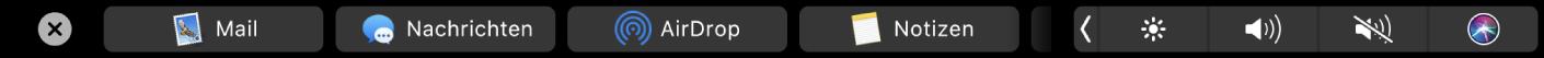 Die Finder-TouchBar mit angezeigten Optionen zum Teilen.