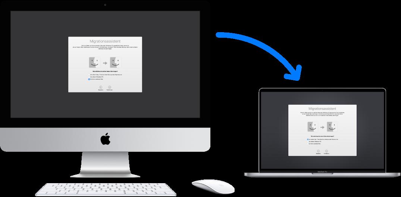 Ein alter iMac mit dem Fenster des Migrationsassistenten, der mit einem neuen MacBook Pro verbunden ist, auf dem ebenfalls der Migrationsassistent angezeigt wird.