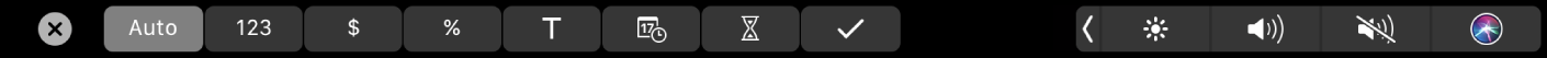 The Numbers TouchBar with Format buttons displayed. These include currency, percentage, numbers, text, date, duration, and checklist.