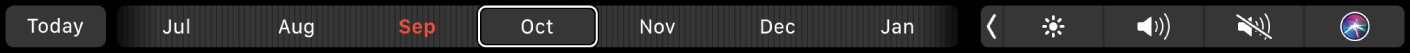 The Calendar TouchBar with the Today button and a slider for selecting a month.