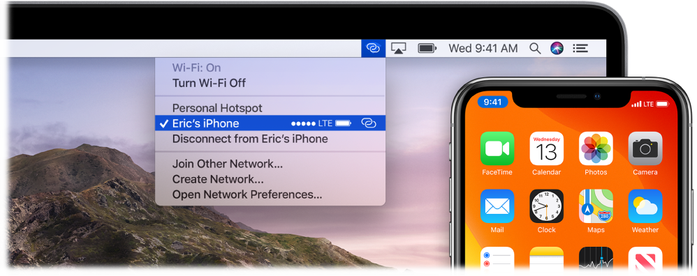 A Mac screen with the Wi-Fi menu showing a Personal Hotspot connected to an iPhone.