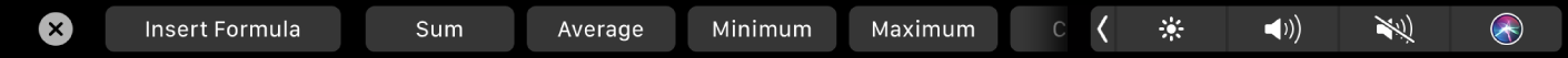 The Numbers TouchBar displaying the Formula buttons. These include sum, average, minimum, maximum, and count.